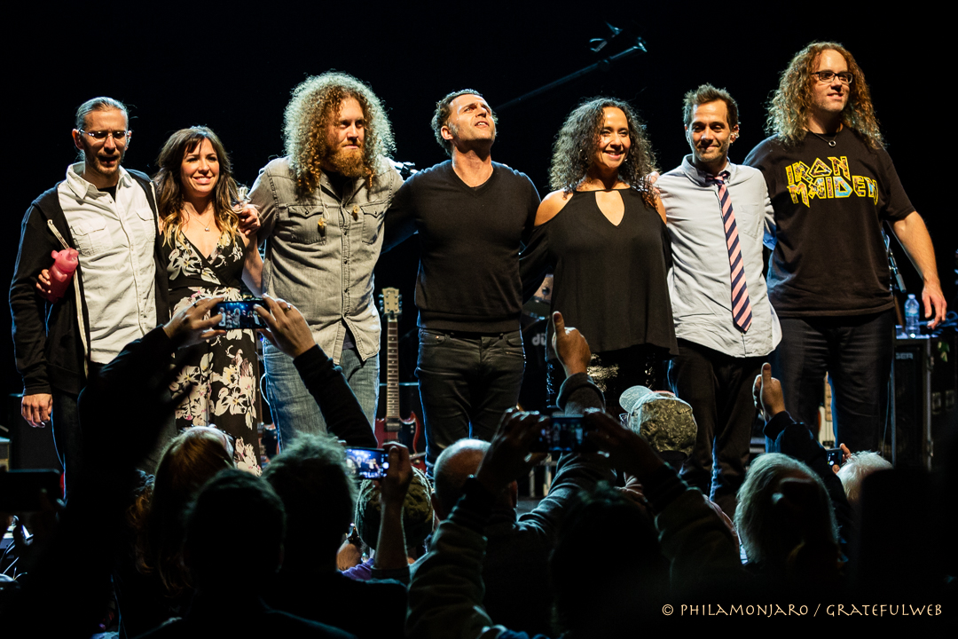 Lt to Rt: Chris Norton, Cian Coey, Adam Minkoff, Dweezil Zappa, Scheila Gonzalez, Kurt Morgan, Ryan Brown