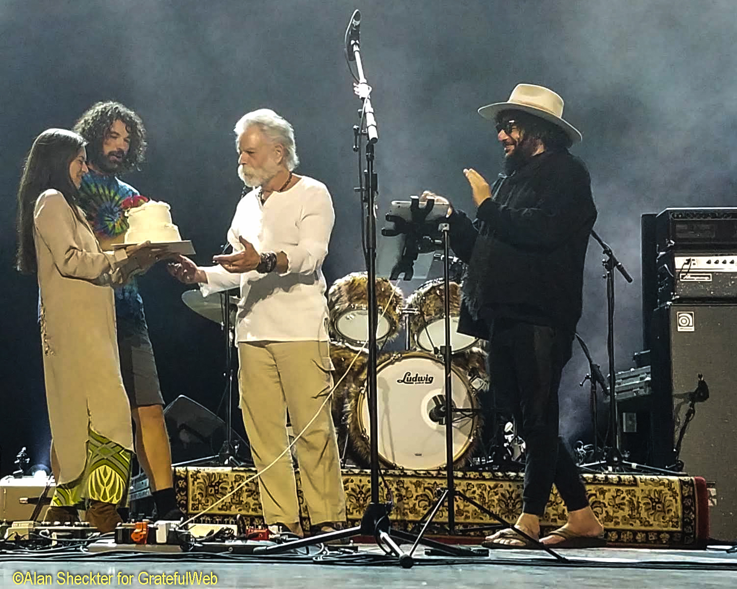 Natasha Weir does her part to share Bob Weir's 71st birthday with the audience