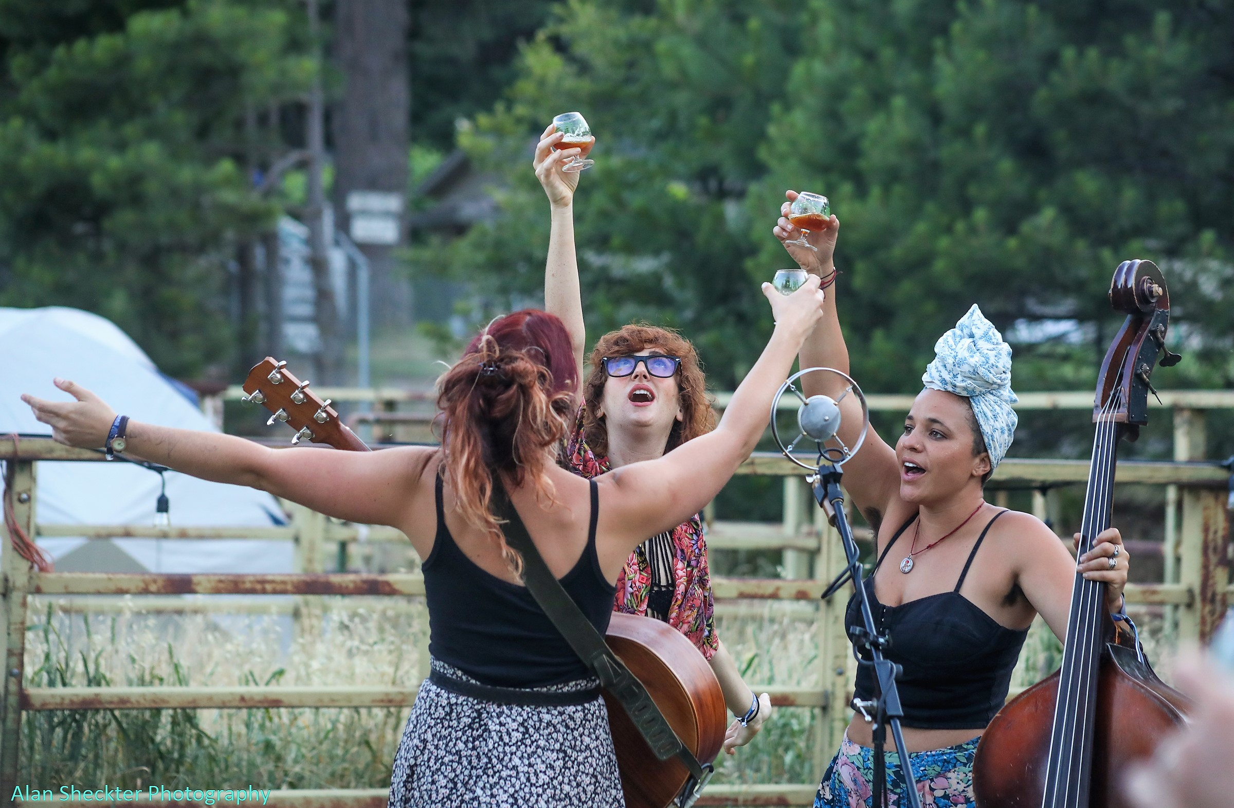 The Rainbow Girls raise their ales to the sky at Sierra Nevada Brewery's Camp Pale Ale