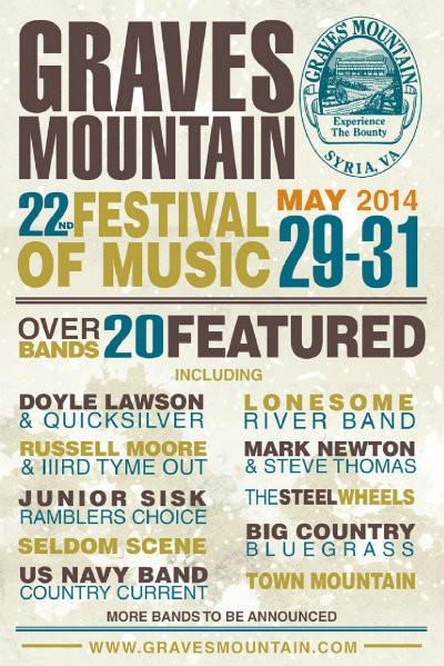 Graves Mountain Festival Announces Initial Line-Up for 2014