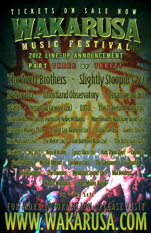 Wakarusa 2012:  Line-up Announcement | Part III - Avett Bros, Matisyahu