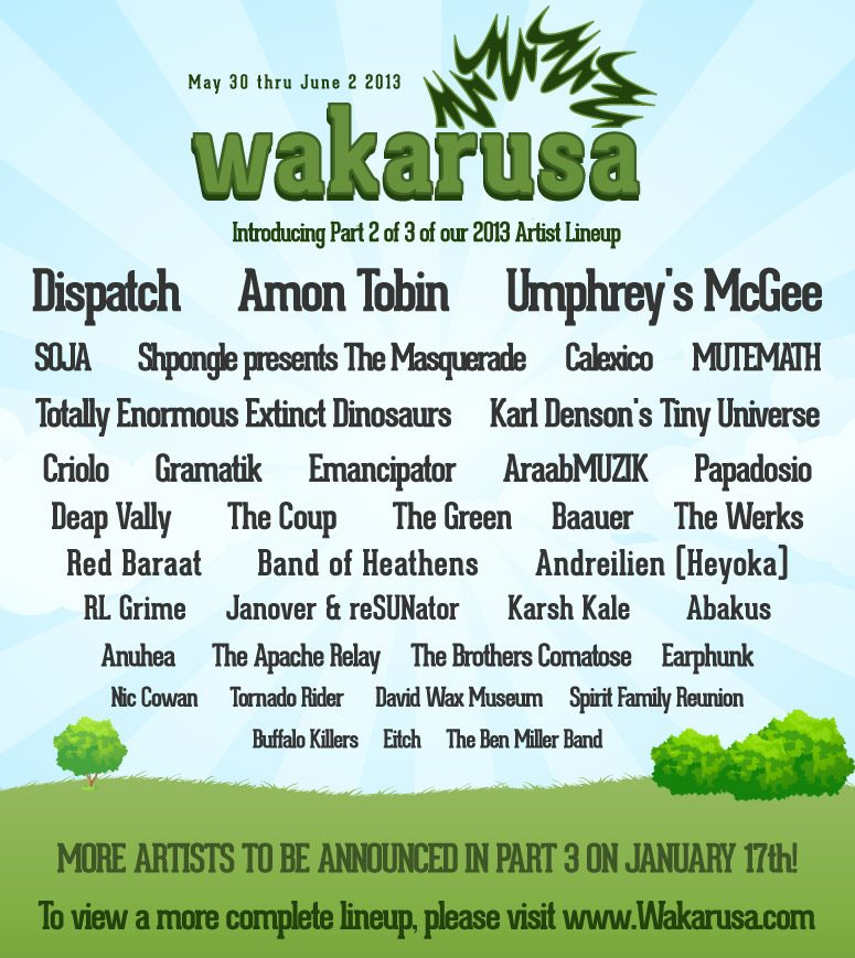 Wakarusa Announces part 2 of their 2013 Line-up